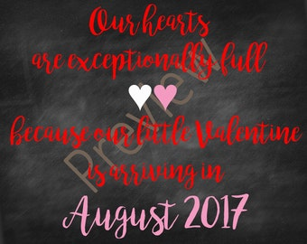 Valentine's Day Birth Announcement for August 2017 Baby