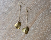 Delicate Moondrop Dangles - Brass Charms Hang From Dainty Chain - Long Earrings