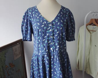 Vintage Laura Ashley 100% cotton blue purple dress
