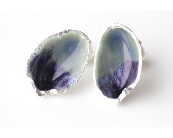 Silver pistachio earrings studs with grey purple enamel,birthday gift,silver studs, giftsforher,statement earrings,silver studs,handmade