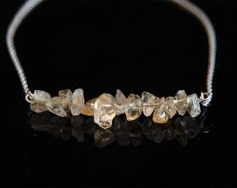 Raw Citrine Bracelet, Sterling Silver Citrine Bracelet, Natural Citrine Jewelry, November Birthstone Bracelet, Positive Vibes Jewelry