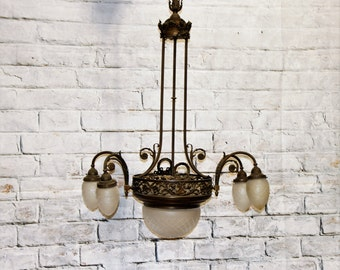 Antique 19th Century Copper Chandelier light fixture from Italy