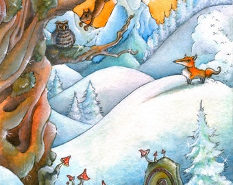 Cold Morning (8 x 10) - Winter - Watercolor - Fairytale - Fox - Forest - Winterforest - Squirrels - Woodland Creatures - Cold - Frozen
