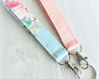 Floral Key fob, Womans wristlet key holders, fabric lanyard, key accessories, blue peach key fobs, clip on key rings