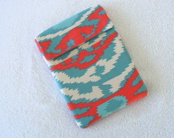 """Kindle Fire Sleeve Cover, IPad Mini Sleeve Cover, Nook Sleeve Cover, Western Turquoise and Coral Print, 7 3/4""""x 5 1/2"""""""
