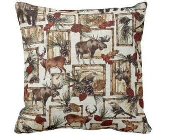 Lodge Pillow Bear  Pillowcase Decorative Throw Pillow Covers Moose Pillow Cover Hunting Pillows Deer Pillowcase Cabin Decorative Pillow