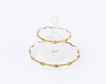 Miniature Glass Tiered Dessert Tray