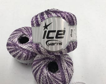 """Four skeins purple ombre Ice """"rings"""" yarn"""