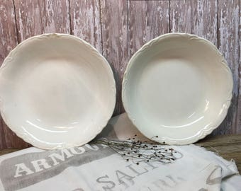 Vintage White Ironstone Serving Bowls/Set of Two/Scalloped Edges/Farmhouse Dishes