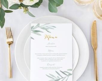 Wedding menu, Italian rustic wedding menu, rustic menu for weddings, olive leaves menu for weddings, botanical wedding stationery