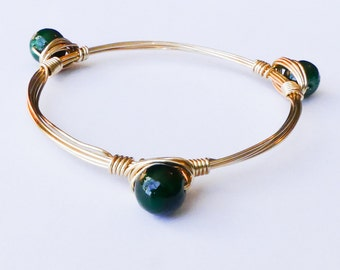 3 Dark Green Bead Bangle