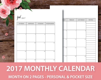 Personal Size Monthly Calendar Printable, 2017 Month on Two Pages, Printable Planner 2017, Kikki K medium, Filofax personal, Blank Calendar
