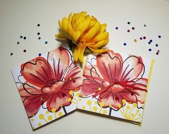 Red and yellow flower cards.  Set of 6 blank cards. Handmade