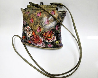 Vintage Hand Painted Cross Body Bag or Purse