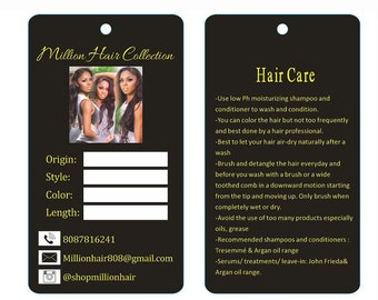 Custom paper hair extensions hang tags