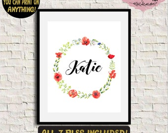 Baby name print Custom baby name sign Baby name wall art Nursery name print Baby name nursery decor Floral name art Personalized name print