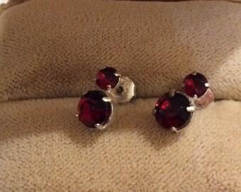 Pretty Red Rhinestone Earrings