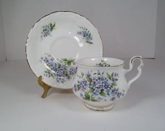 Royal Albert Coleridge Teacup and Saucer, Sonnet Series, Forget-Me-Not Flowers, Made in England, Bone China, Royal Albert LTD 1983