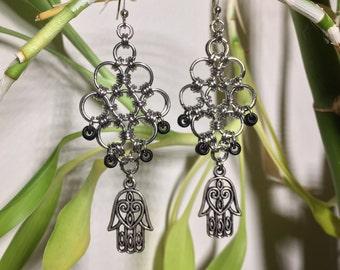Chainmaille Hamsa Earrings