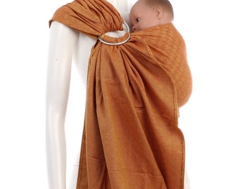 SALE 15% OFF Ring Sling - Gold-Red Ring Sling - Woven Baby Wrap - Ring Sling Baby Carrier