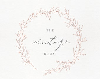 Premade Logo Feminine Design Brand Business Photography Boutique Vintage Wreath