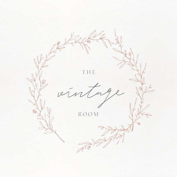 Premade Logo Feminine Design Brand Business Photography Boutique Vintage Wreath From StylishCreativeShop