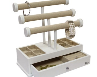 Ikee Design Wooden Linen Triple Tier T-Bar Jewelry Organizer(SKU:BXJ12LN)