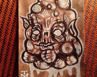 Blob Monster ACEO Original Drawing, Miniature Gothic Surreal Horror creature collectible trading card size art by TM
