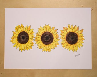 Sunflowers - Watercolour Print