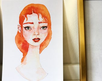 Illustrated watercolour redhead art print A5