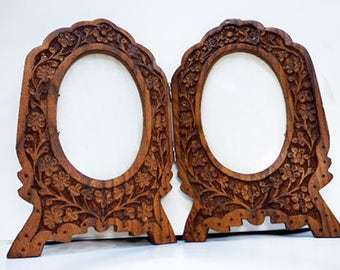 Hand Carved Wood Picture Double Photo Frame -  Hand Carved Solid Mango Wood Picture Frame - Decorative Antique