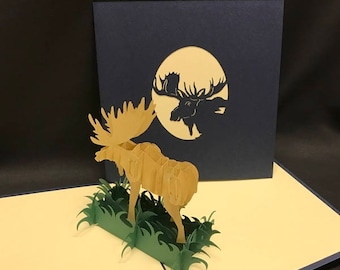 Moose 3-d pop up card