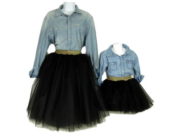 """Mother Daughter Matching Black Tulle Skirts mommy and me set super fluffy tutu skirts, """"Alexis""""."""