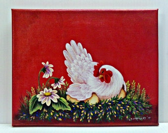 Original Canvas Painting HEN and EGGS FLOWERS Red Metallic Hand Painted Trish McMurry Art