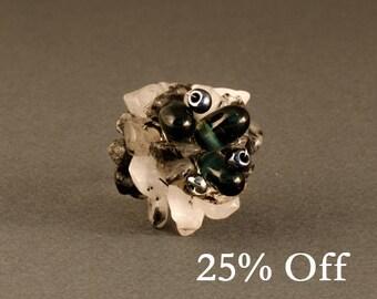 Adjustable Crystal Ring | Black Tourmaline Ring | Bohemian Gemstone Ring | Chunky Gemstone Ring | Adjustable Quartz Ring | 25% OFF