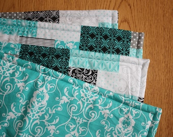 Placemats, Set of 4, Teal Block,  Reversible, 18 x 14