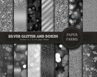 Silver bokeh digital paper, silver glitter digital paper, silver glitter and bokeh, scrapbook paper, bokeh effects, metallic, download