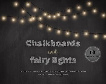 Chalkboards and fairy lights, chalkboard backgrounds, fairy light overlays, fairy light clipart, invitation supplies, light strings, DIGITAL