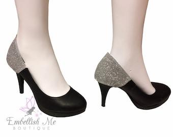Silver Glitter High Heels, High Heel Accessories, Glitter Shoes, Pumps