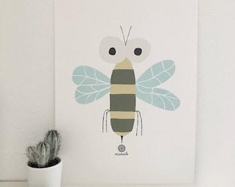 Bee print animals nature modern picture art print living room decoration illustration present minimalist abstract