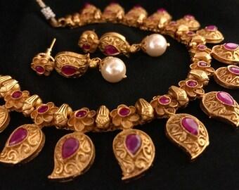 Gram Gold Kempu Necklace | Matte Ancient Mango Necklace
