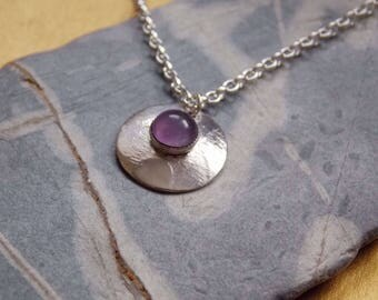 Sterling Silver Pendant with  Lavender Amethyst Cabochon
