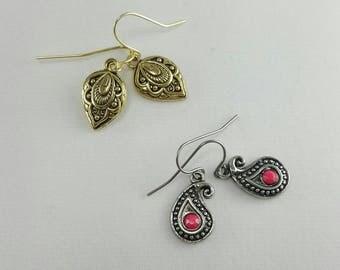 Paisley Earrings, Paisley Charm Earrings, Dainty Paisley Earrings, Sale Earrings, Clearance Earrings, Discounted Earrings