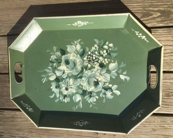 Tray, Vintage Green, White and Gray Hand Painted Floral Toleware, Metal Tray, Nashco Products, 50's Drink's Tray, Mid Century