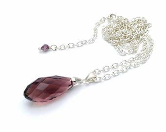 Handmade Silver Plated Briolette Necklace / Grape Crystal Briolette Pendant Necklace / Handmade Silver Plated Necklace with Briolette