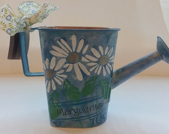 "Large Watering Can Planter ""MARGUERITE"""