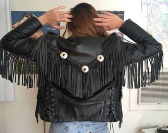 VINTAGE Putname Leather Gold Fringe Jacket 1980's-1990's