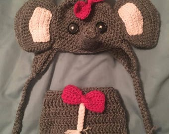 Infant elephant hat and diaper cover