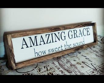 Amazing Grace sign, amazing grace wood sign, farmhouse style sign, Christian Sign, prayer sign, Christian decor, amazing grace sign wood