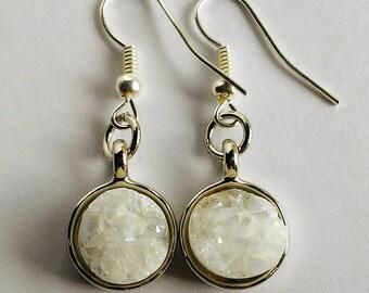 Round White Quartz Dangle Earrings